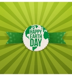 Happy Earth Day Emblem and festive Ribbon vector image
