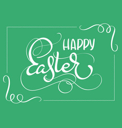 Happy easter words on green background frame vector