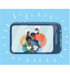 Happy family taking self portrait with smartphone vector