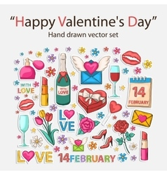 Happy Valentines day scrap set vector image
