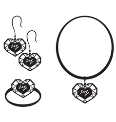 Heart jewelry vector