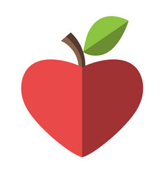 Heart shaped red apple vector