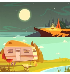 Hiking And Camping Banners Set vector