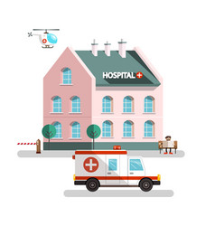 hospital building with ambulance car helicopter vector image