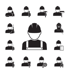 Icons workmen coupled with different tools vector
