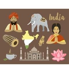 India icon set vector image