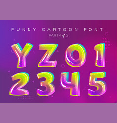 kids font in cartoon style bright and colorful 3d vector image