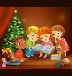 kids reading the book beside a christmas tree vector image