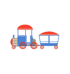 Kids toy train blue and red cartoon railroad toy vector