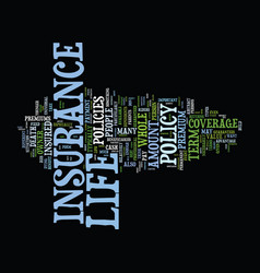 Life insurance facts text background word cloud vector