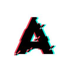 Logo letter a glitch distortion diagonal vector