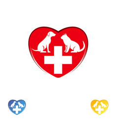 logo vet clinic pet care dog and cat in heart vector image