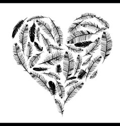 Love heart ethnic indian feather vector