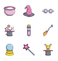 magician equipment icons set flat style vector image