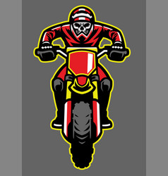 Mascot of skull riding motocross vector