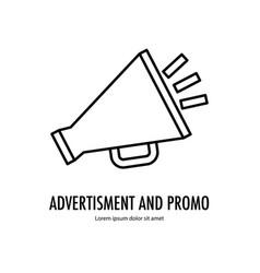 Megaphone advertisement line vector