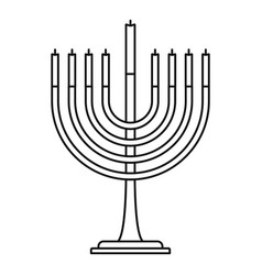 menorah icon outline style vector image