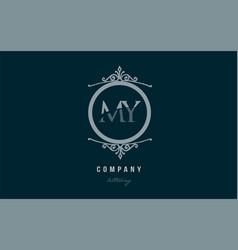 My m y blue decorative monogram alphabet letter vector