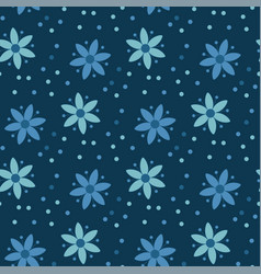peasant style simple floral pattern on blue color vector image