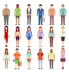 People in casual clothes flat icons set vector