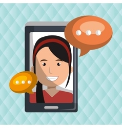person communicating online isolated icon design vector image