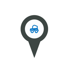 pin icon with car sign symbol vector image
