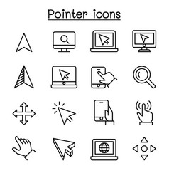 pointer cursor icon set in thin line style vector image