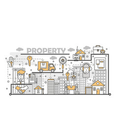 property and real estate concept flat line vector image