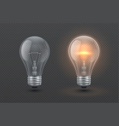 Realistic glowing electric light bulb isolated vector