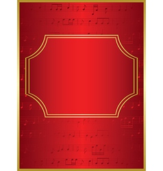 red background and gold frame with musical notes vector image
