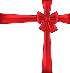 Red bow for packing gift vector image vector image
