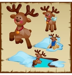 Reindeer in different way in winter set vector image