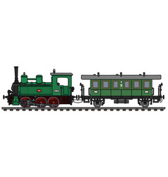 retro green steam locomotive and wagon vector image