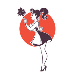Retro sexy pinup housemaid cleaning emblem logo vector
