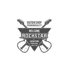 Rock star guitar shop label badge emblem vector