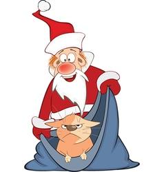 Santa Claus and Cute Cat Cartoon vector image
