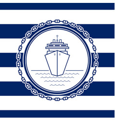 Sea emblem with a liner vector