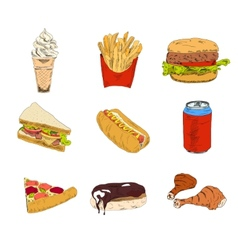set fast food icons vector image