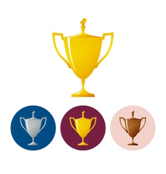 Set icons cups of winnericon trophy cup vector image