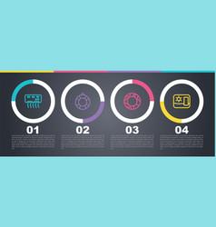 Set line air conditioner lifebuoy rubber vector