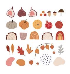 Set modern abstract hand-drawn autumn elements vector