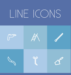 set of 6 editable tools outline icons includes vector image