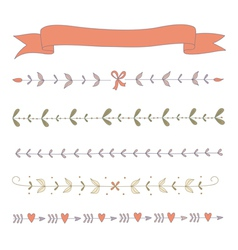 Set of hand drawn floral border elements and a rib vector