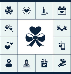 Set of love icons simple romance elements vector