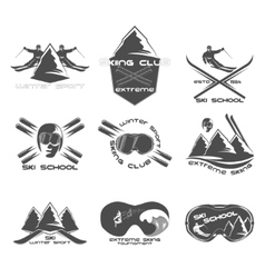 set ski logo design template elements vector image