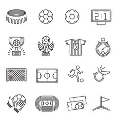 soccer competition line icons football vector image