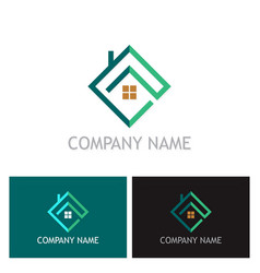 Square home realty company logo vector
