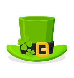 St patricks day green leprechaun hat decorated vector