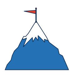 success icon mountain with flag on a peak as aim vector image