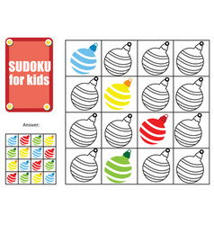 sudoku for children kids activity sheet new year vector image